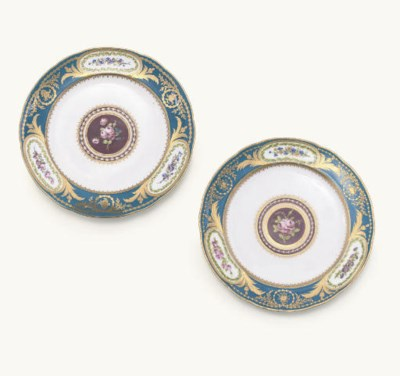 TWO SEVRES BLEU CELESTE-GROUND