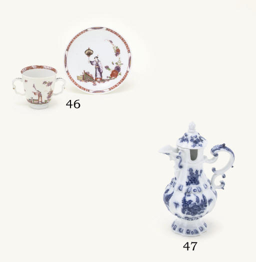 A MEISSEN BLUE AND WHITE OIL-P