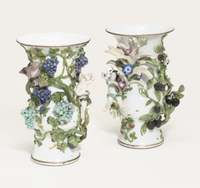 A PAIR OF MEISSEN BEAKER-VASES