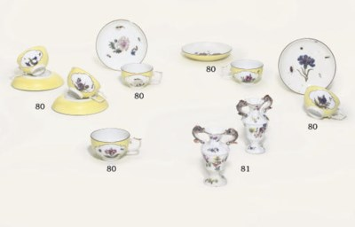SIX MEISSEN YELLOW-GROUND TEAC