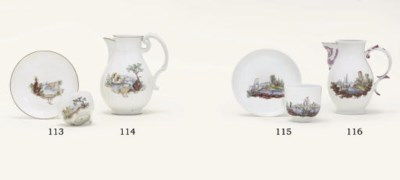 TWO WÜRZBURG TEACUPS AND SAUCE