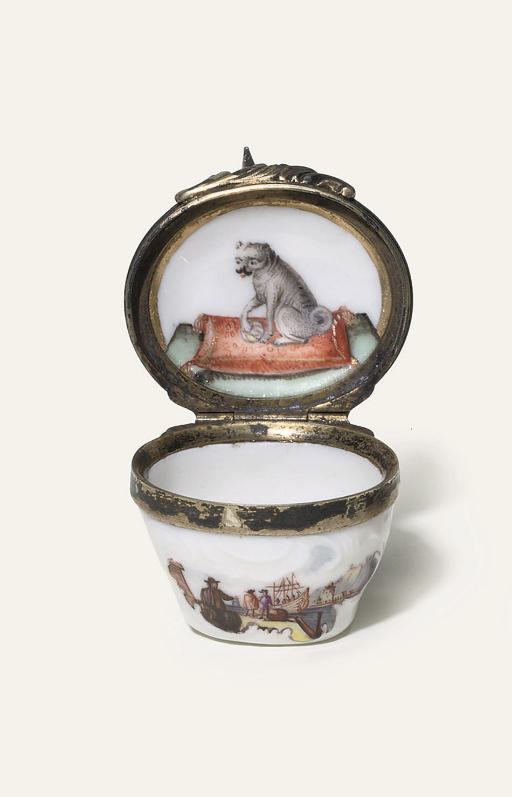 A MEISSEN SILVER-GILT MOUNTED