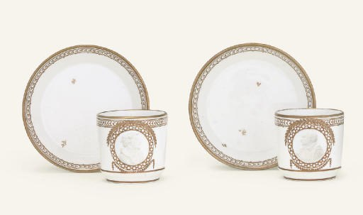 TWO FULDA WHITE AND GILT PORTR