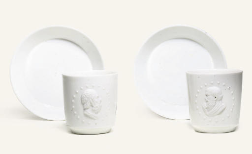 TWO FULDA WHITE PORTRAIT COFFEE-CUPS AND SAUCERS