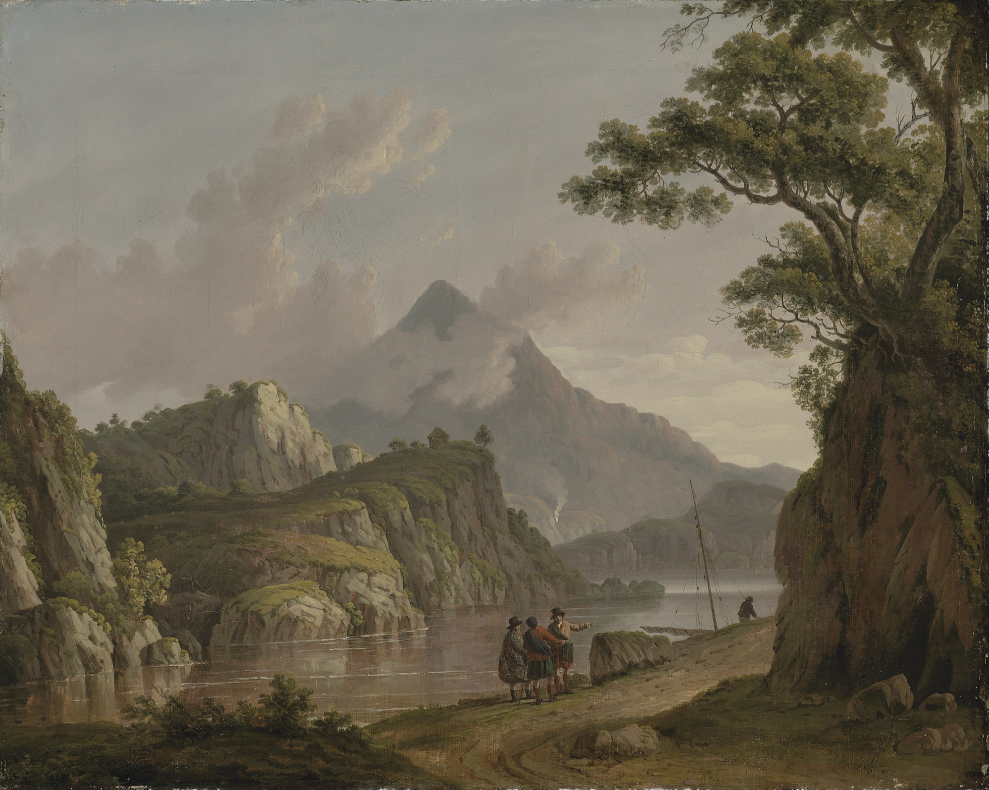 View of Loch Katrine, with travellers on a path