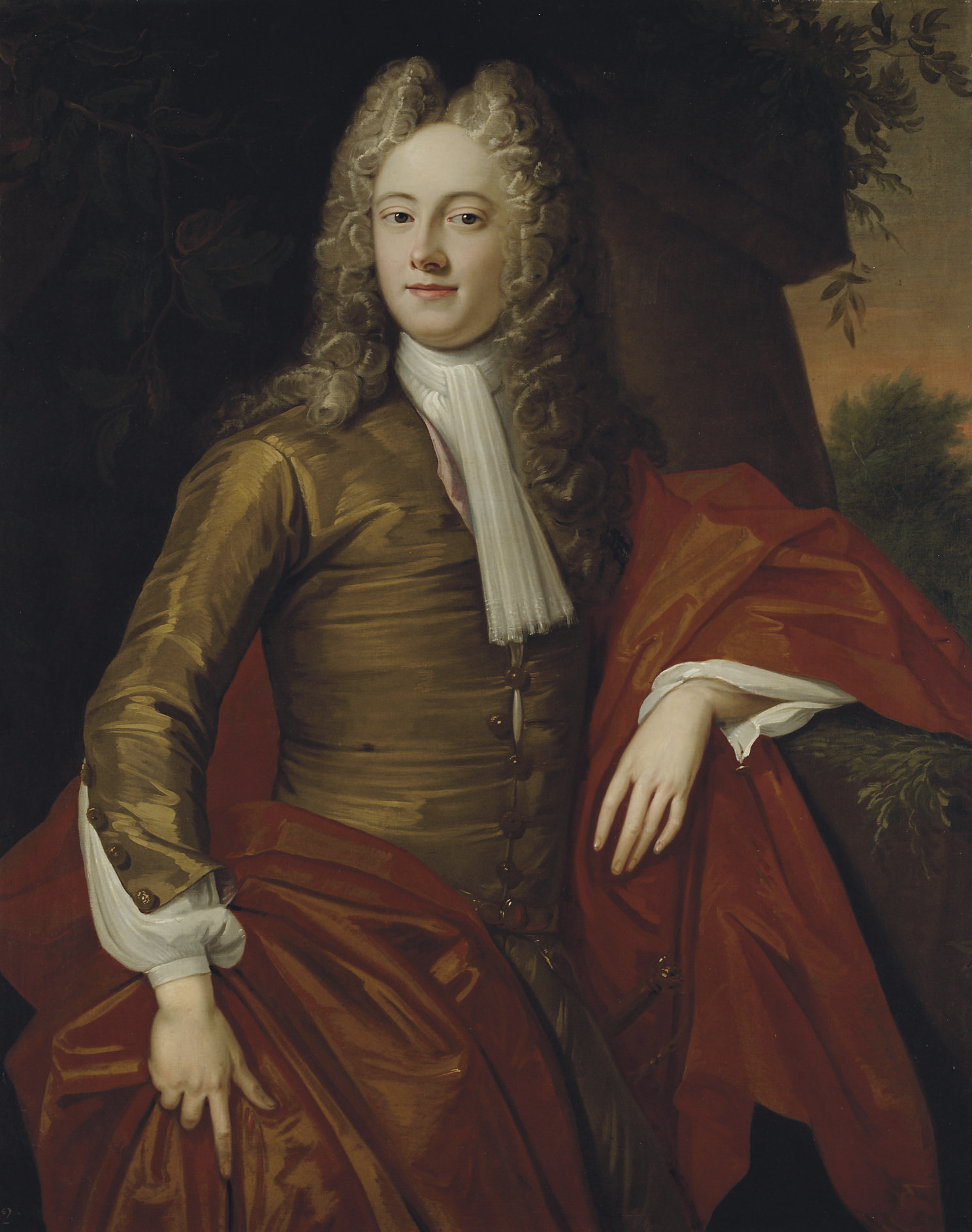 Portrait of John Keith, 3rd Earl of Kintore (c. 1699-1758), three-quarter-length, in a brown coat and a red mantle, in a landscape
