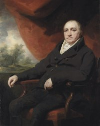 Portrait of a gentleman, traditionally identified as Dr. Black, or Dr. Blake, three-quarter-length, in a black coat, a draped red curtain and landscape beyond
