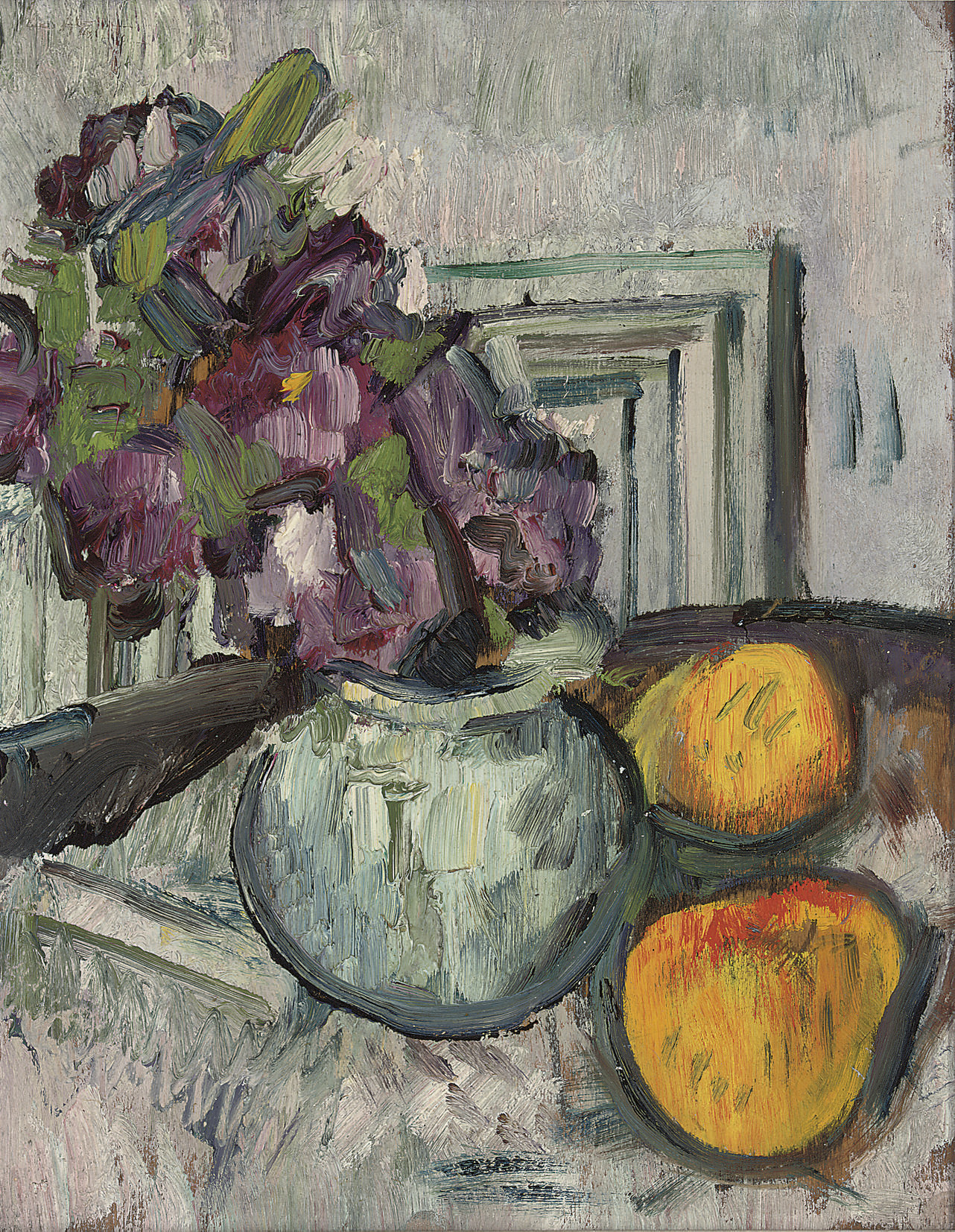 Still life with purple flowers and apples