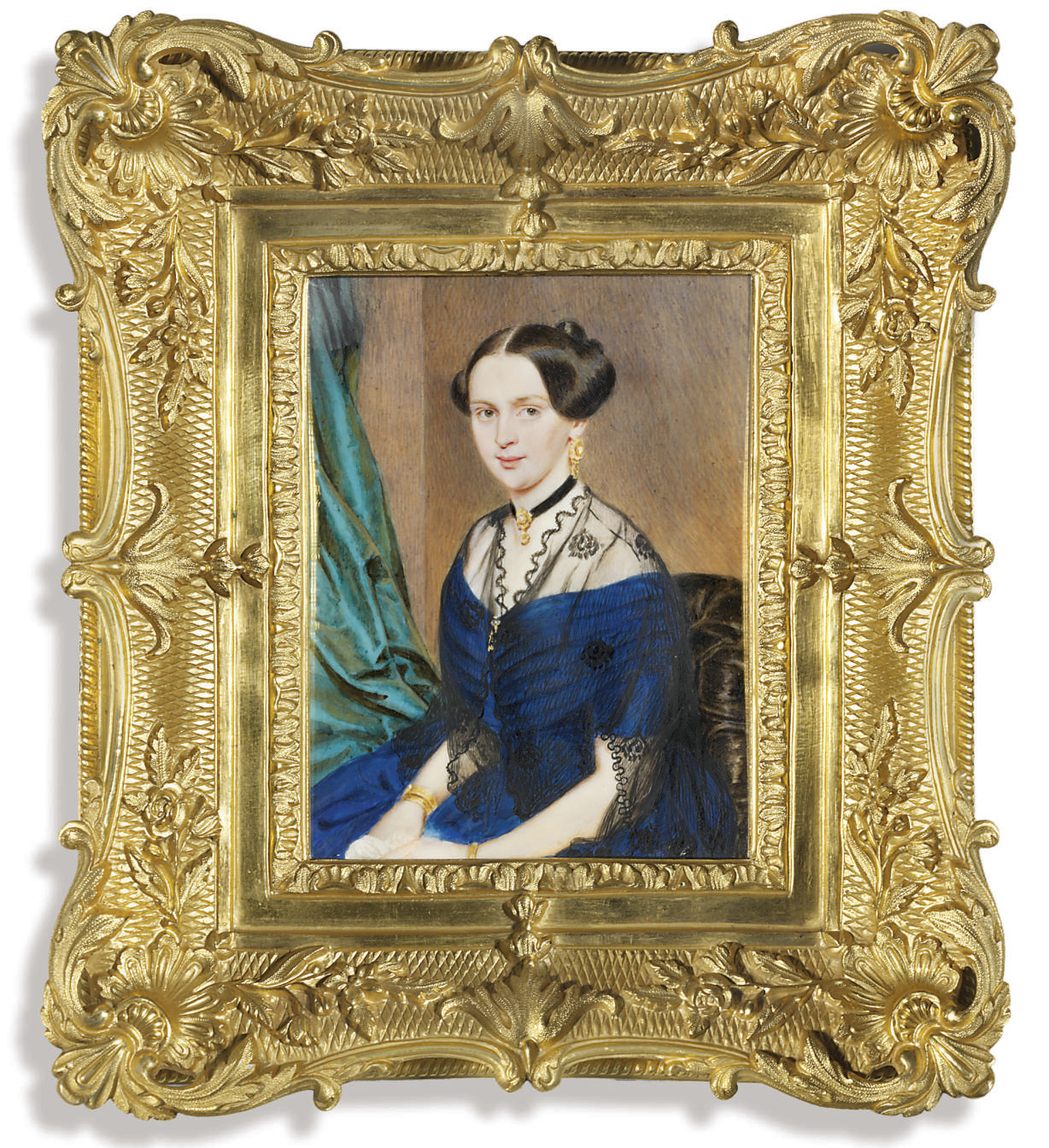 A young lady called Princess Galitzin née Moisseff (1834-1914), in off-the-shoulder blue dress, black gauze stole over her shoulders, a gem-set black choker, gold earring and bracelets, her dark hair upswept, seated in an upholstered black chair; green drapery background