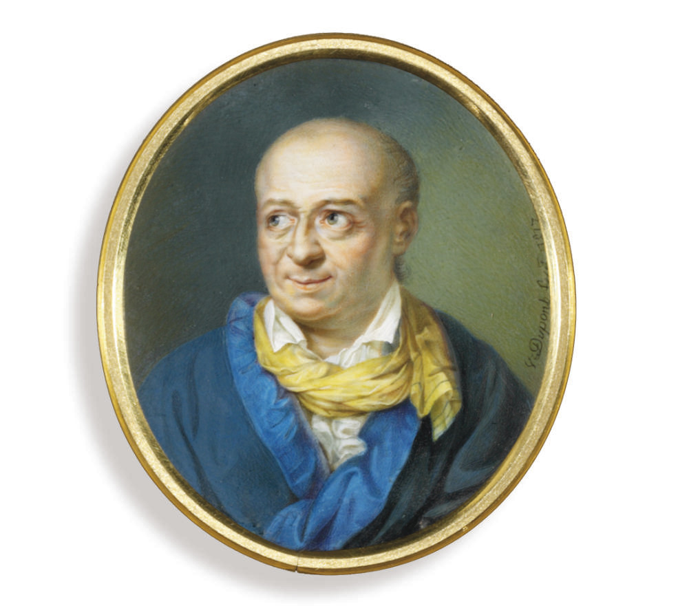 Salomon Gessner (1730-1788), in blue-lined greenish-blue gown, white shirt and a yellow scarf tied loosely around his neck