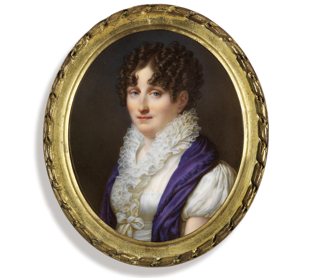 A young lady, in white dress with frilled collar, ribbon tied at waist, mauve shawl draped over her shoulder, dark upswept hair dressed in ringlets