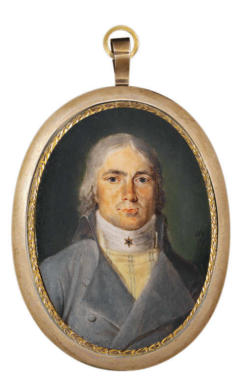 Tobacco manufacturer Peter Funder (1773-1829), in double-breasted pale grey coat and striped yellow waistcoat, a star stickpin in his white shirt, powdered hair