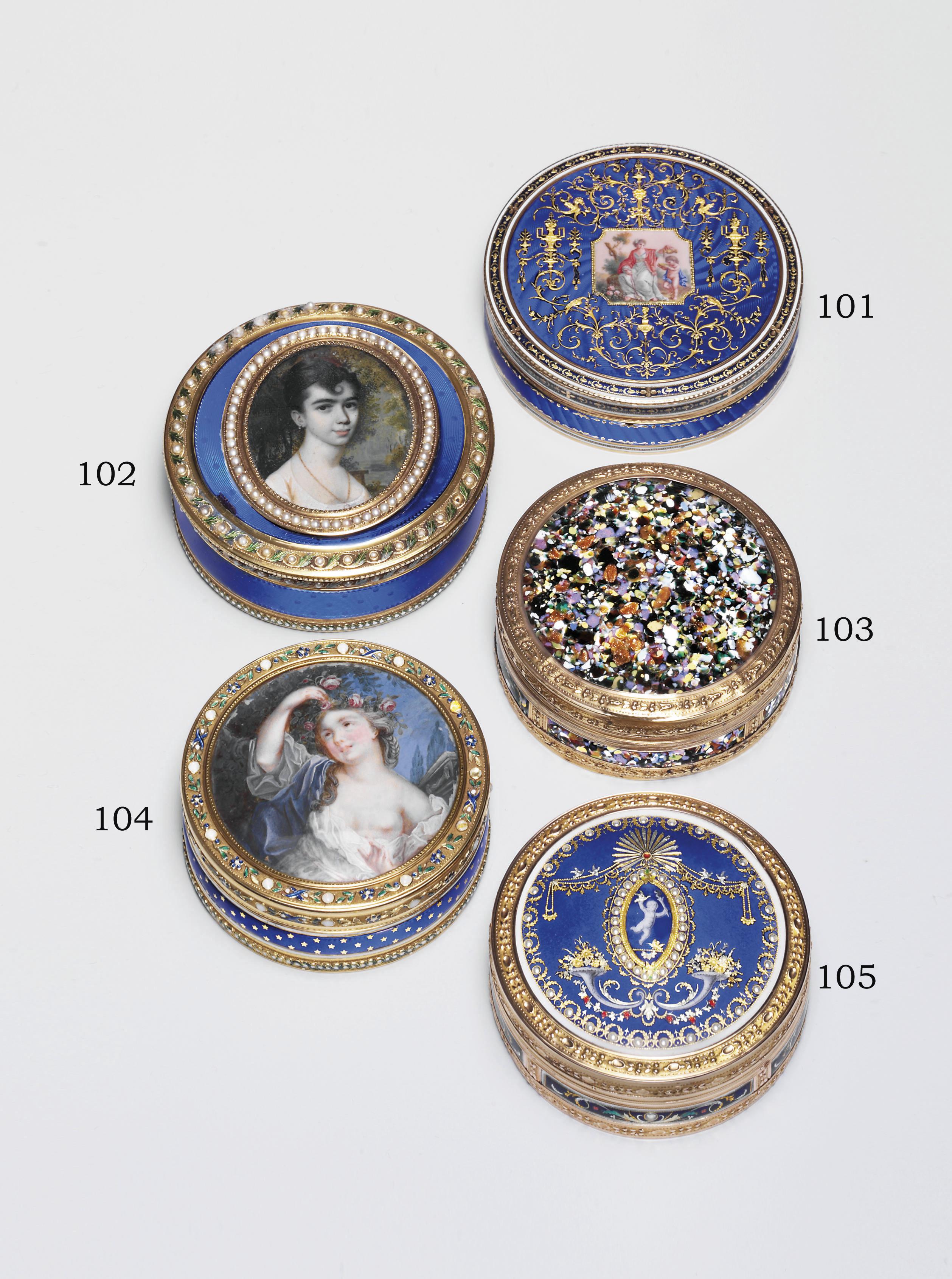 A LOUIS XVI SPLIT-PEARL SET ENAMELLED GOLD BONBONNIÈRE SET WITH A MINIATURE