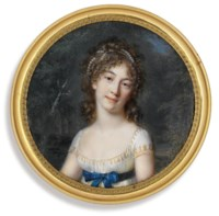 A young lady, in gold-embroidered white dress with short sleeves, a blue sash tied in a bow at her waist, pearls in her upswept curling hair; landscape background