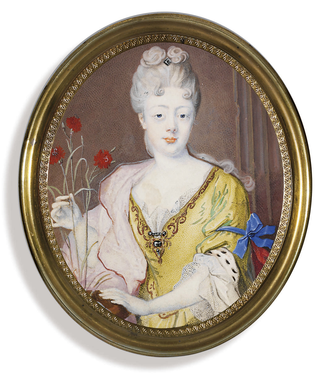 Princess Teresa Kunegunde Sobieski (1676-1730), in yellow dress with a jewel-set fastening, ermine trim on sleeve and a white lace underslip, with a pink shawl draped over her right shoulder and a blue ribbon tied around her left arm, her left hand resting on a plant pot filled with three long-stemmed red carnations; column background