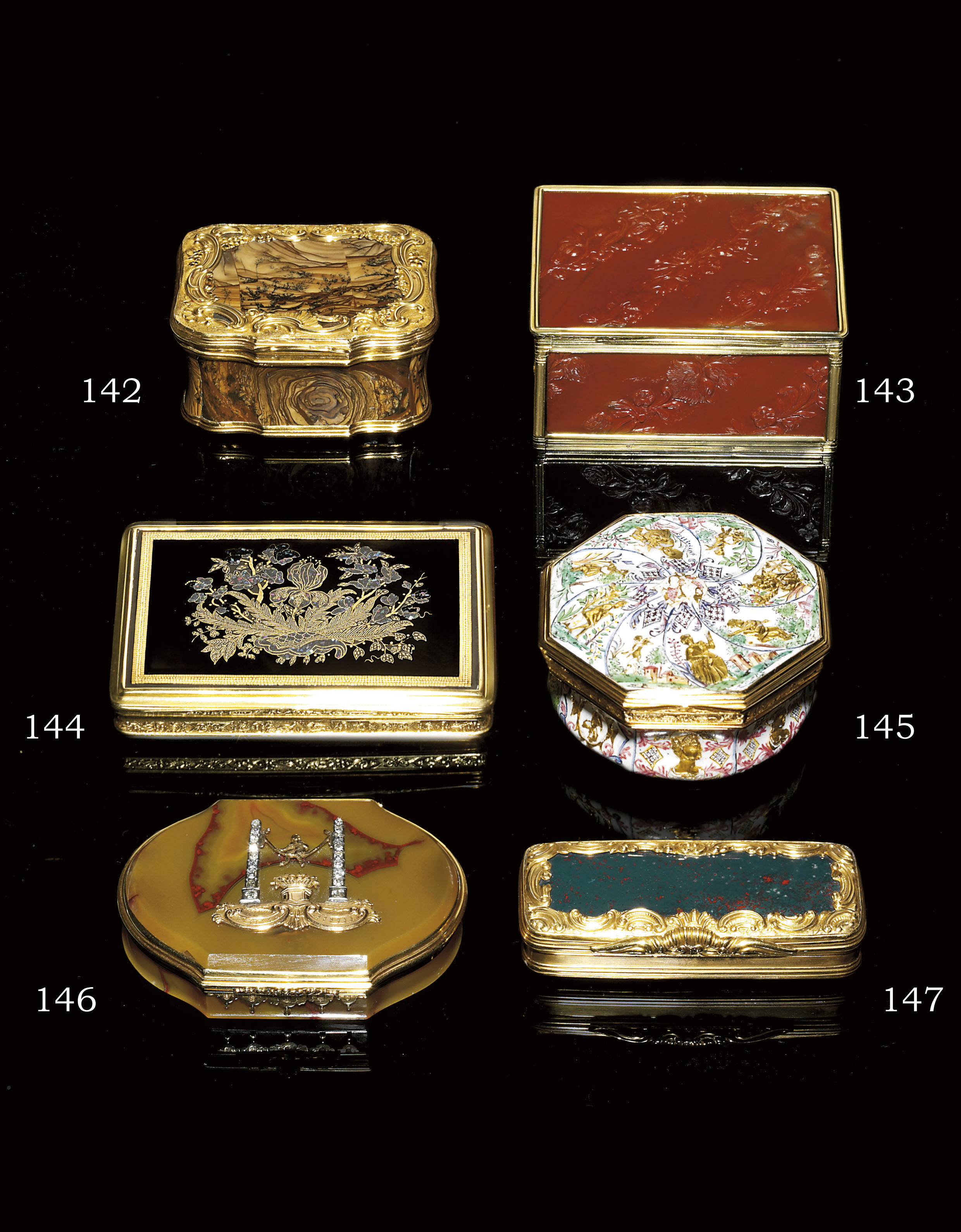 A GEORGE III GOLD AND HARDSTON