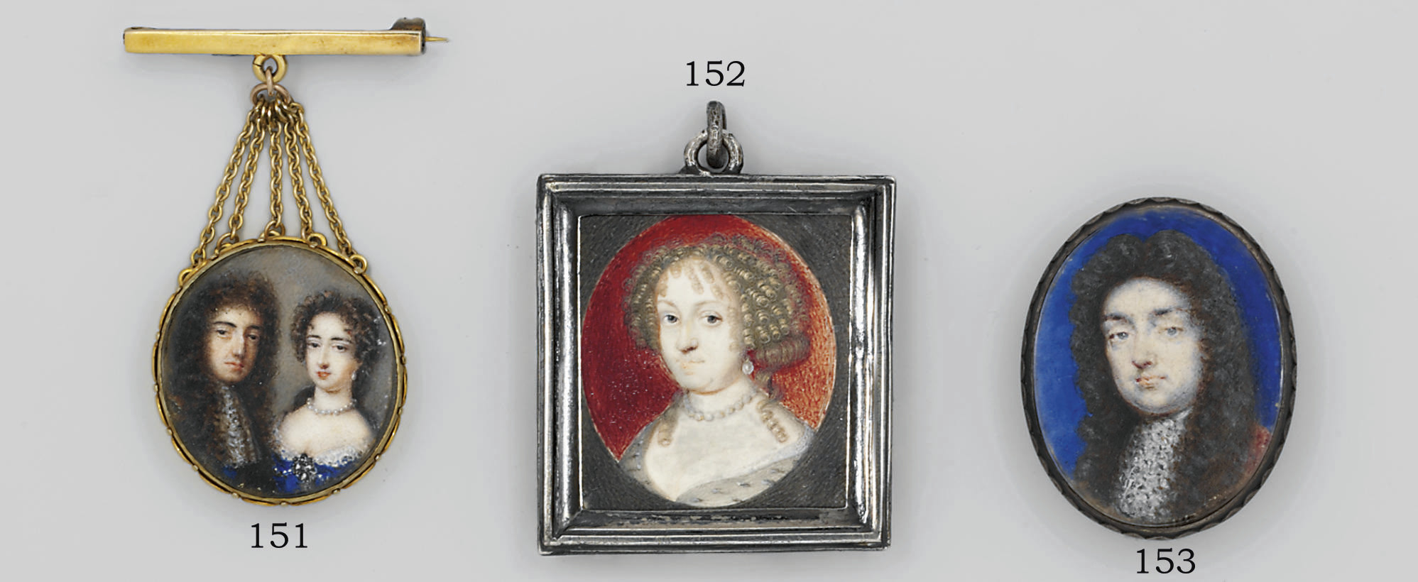 William III (1650-1702) and Mary II (1662-1694), he in blue coat and white lace jabot, long curling wig; she, in lace-bordered dress, get-set pearls at corsage, pearl necklace, drop-pearl earring, curling dark hair