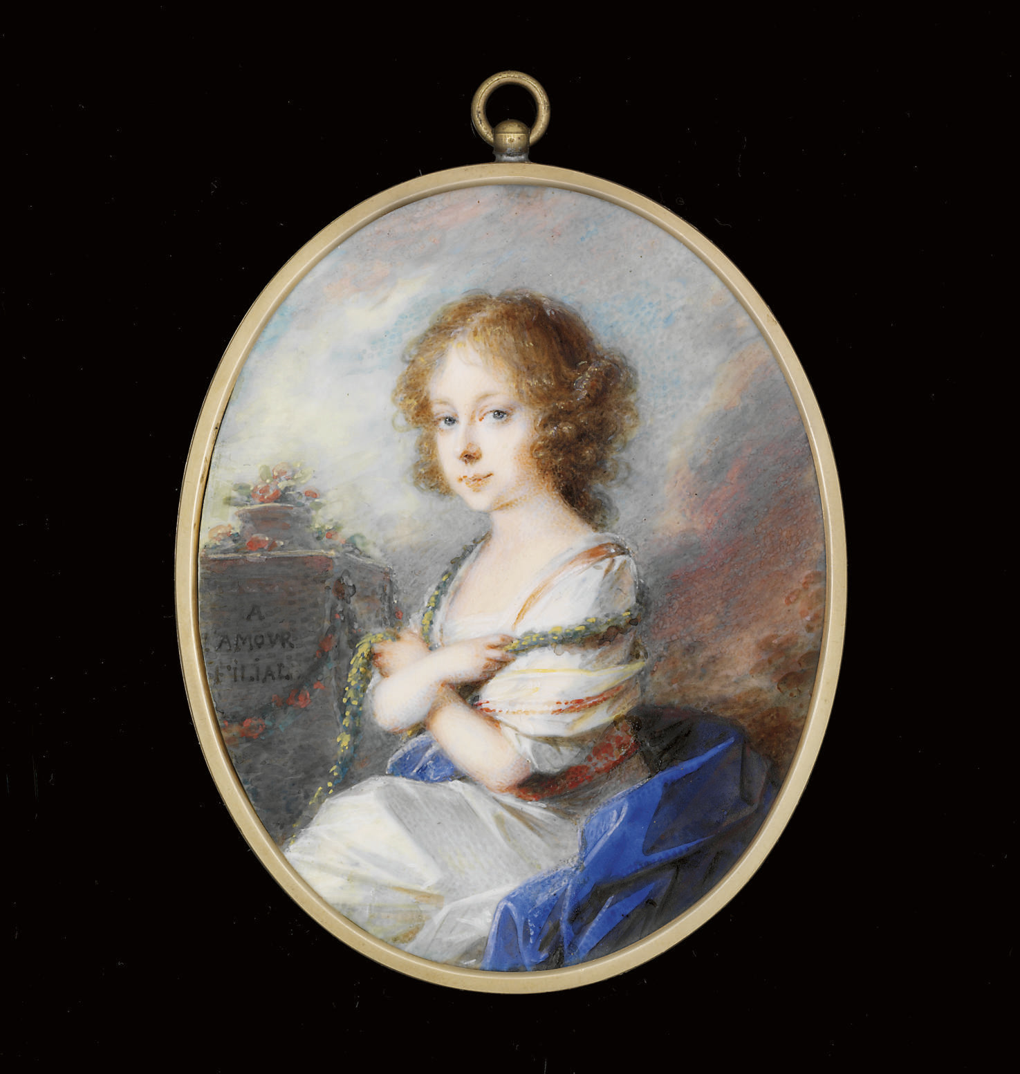 Countess Molly Zichy-Ferraris (1780-1866) as a child, in white dress, orange-bordered white shawl and laurels draped around her shoulders, seated on a blue shawl, next to stone plinth engraved with 'A  L'AMOUR  FILIAL' and decorated with garlands of flowers; landscape and sky background