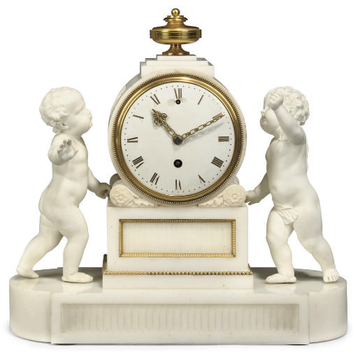 A GEORGE III ORMOLU-MOUNTED WHITE MARBLE AND BISCUIT PORCELAIN MANTEL CLOCK