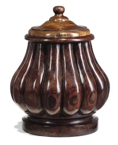 A DUTCH ROSEWOOD TOBACCO-JAR