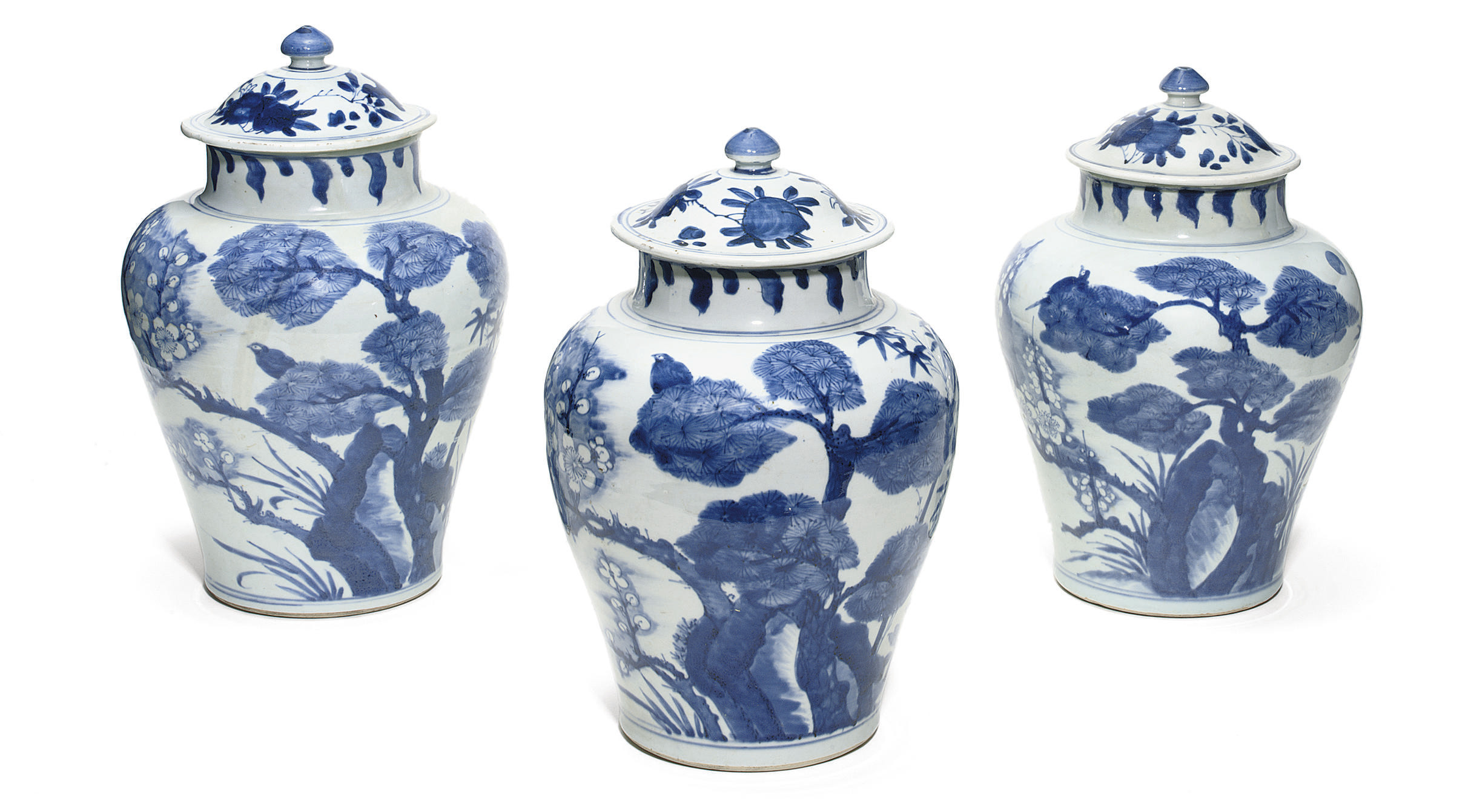 THREE CHINESE BALUSTER BLUE AN