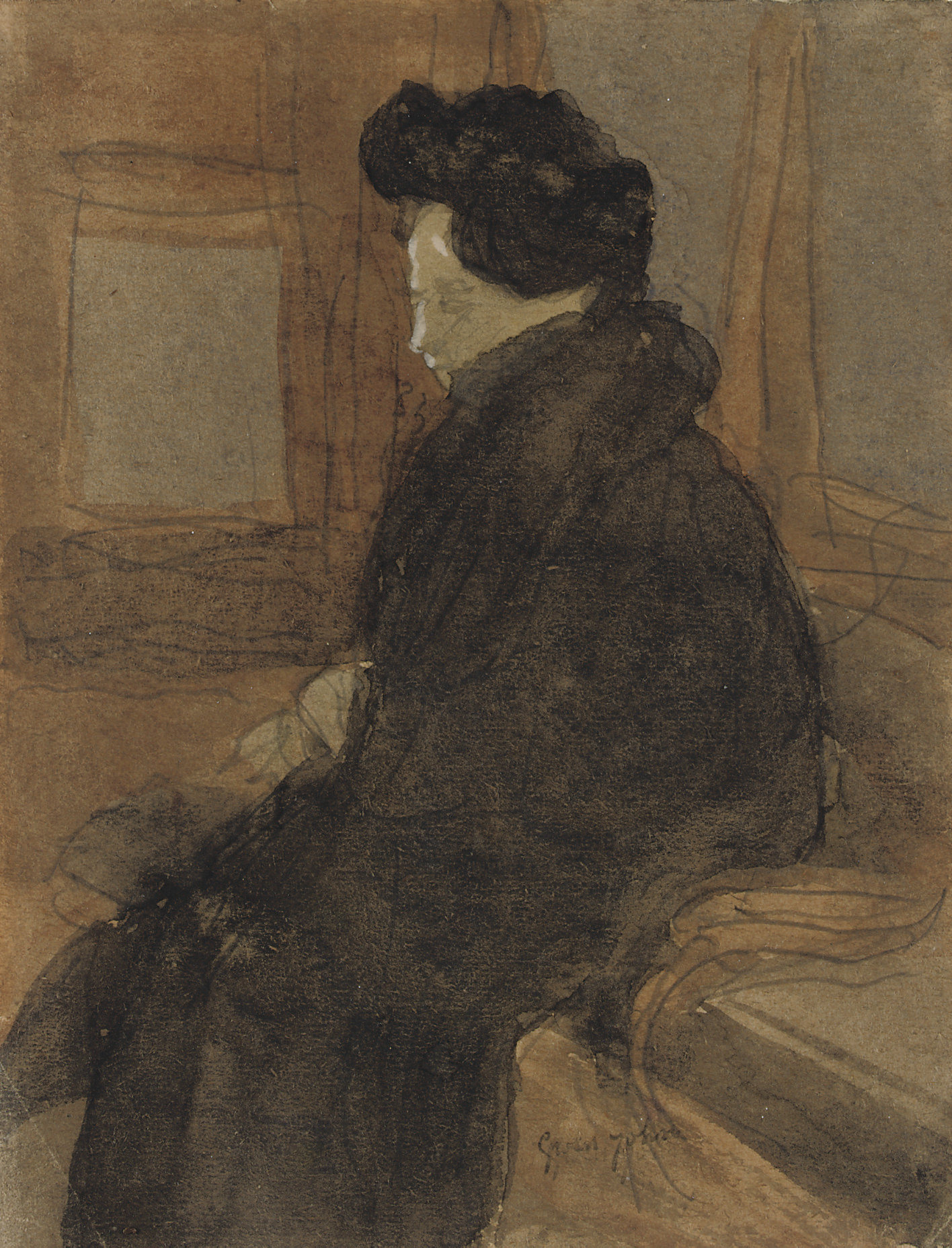Woman in a railway carriage