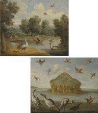 Birds in a river landscape; and Seabirds by The Bass Rock