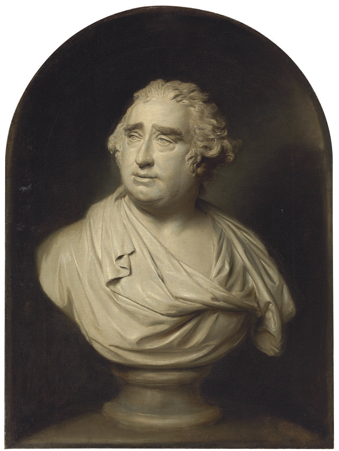 A trompe l'oeil grisaille of Nollekens's bust of Charles James Fox (1749-1806), in a niche