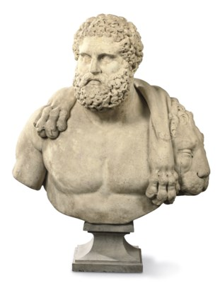 A CARVED MARBLE BUST OF HERCUL