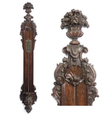 A Dutch carved walnut stick ba