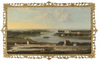 View of the Thames from Richmond Hill, with figures in the foreground