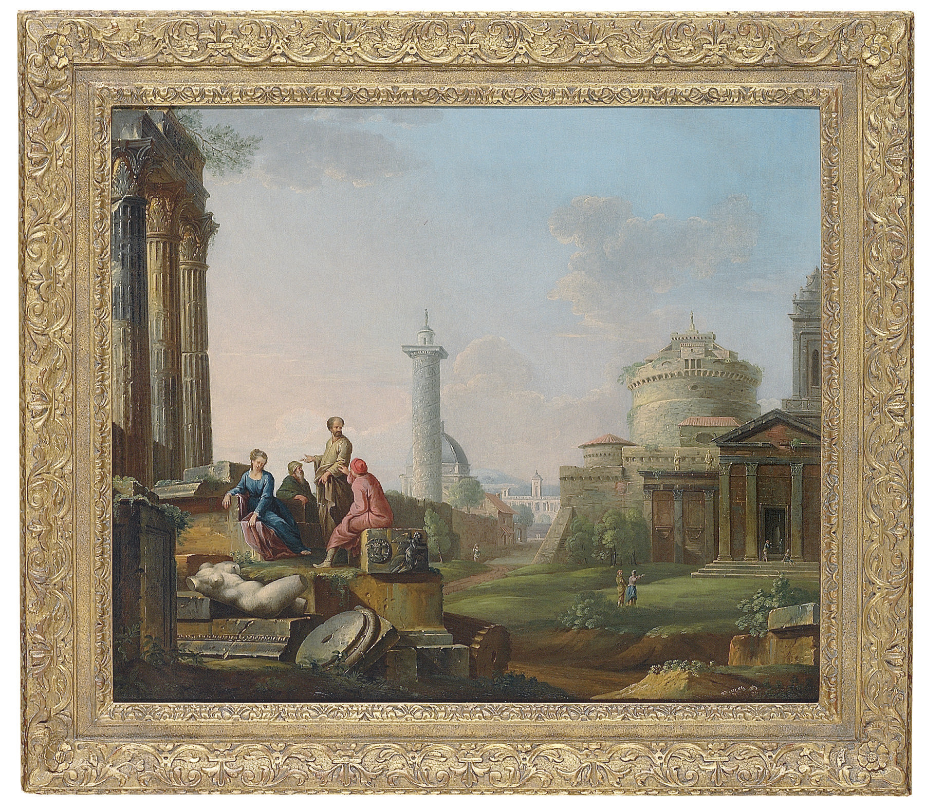 A Roman capriccio with the Castel Sant'Angelo and Trajan's Column, and other ruins, with figures