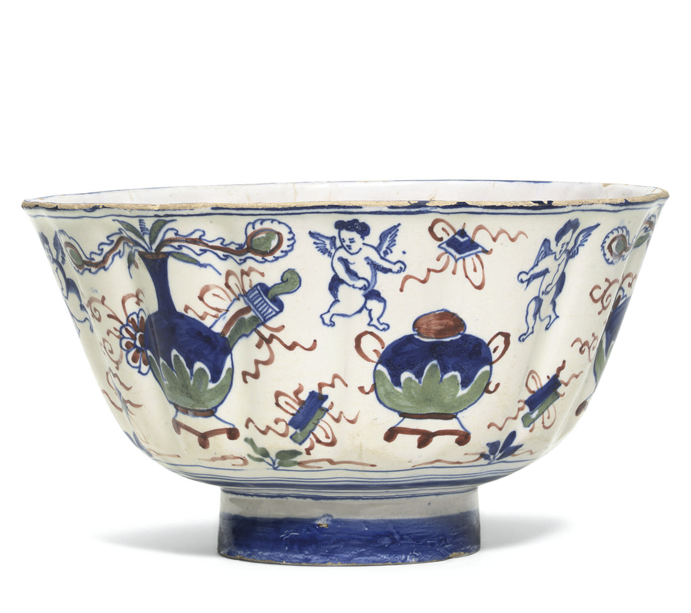 AN ENGLISH DELFT FLUTED POLYCH
