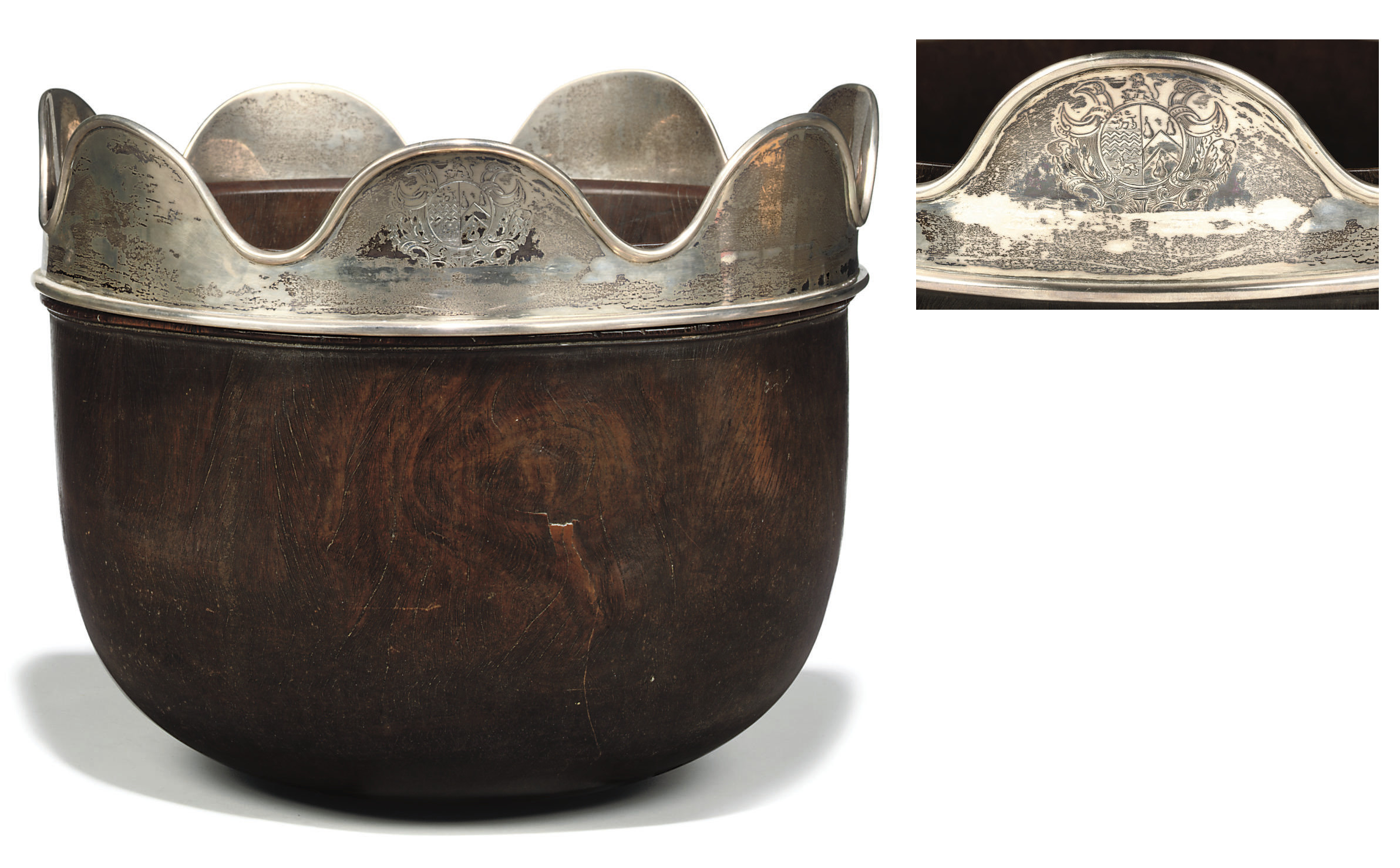 A GEORGE II SILVER-MOUNTED LIGNUM VITAE WASSAIL BOWL