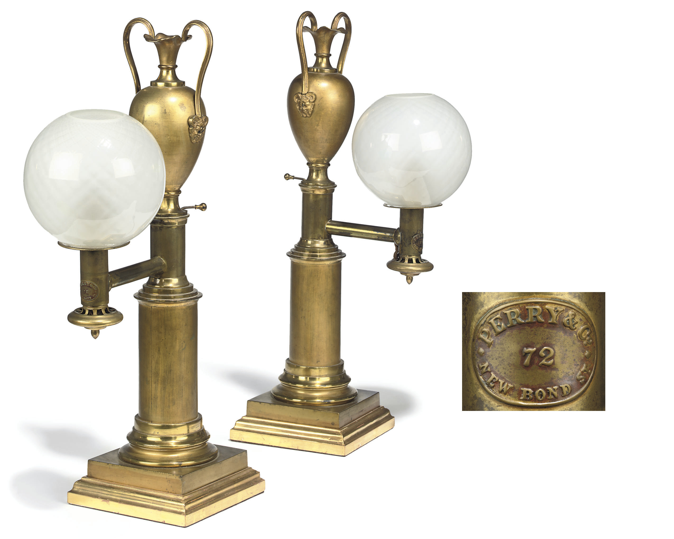 A PAIR OF WILLIAM IV COLZA OIL LAMPS