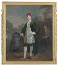 Portrait of a gentleman, probably Richard Boyle, 3rd Earl of Burlington and 4th Earl of Cork (1694-1753), full-length, with his gardener, James Scott, before a rectangular pond in a garden, probably Chiswick