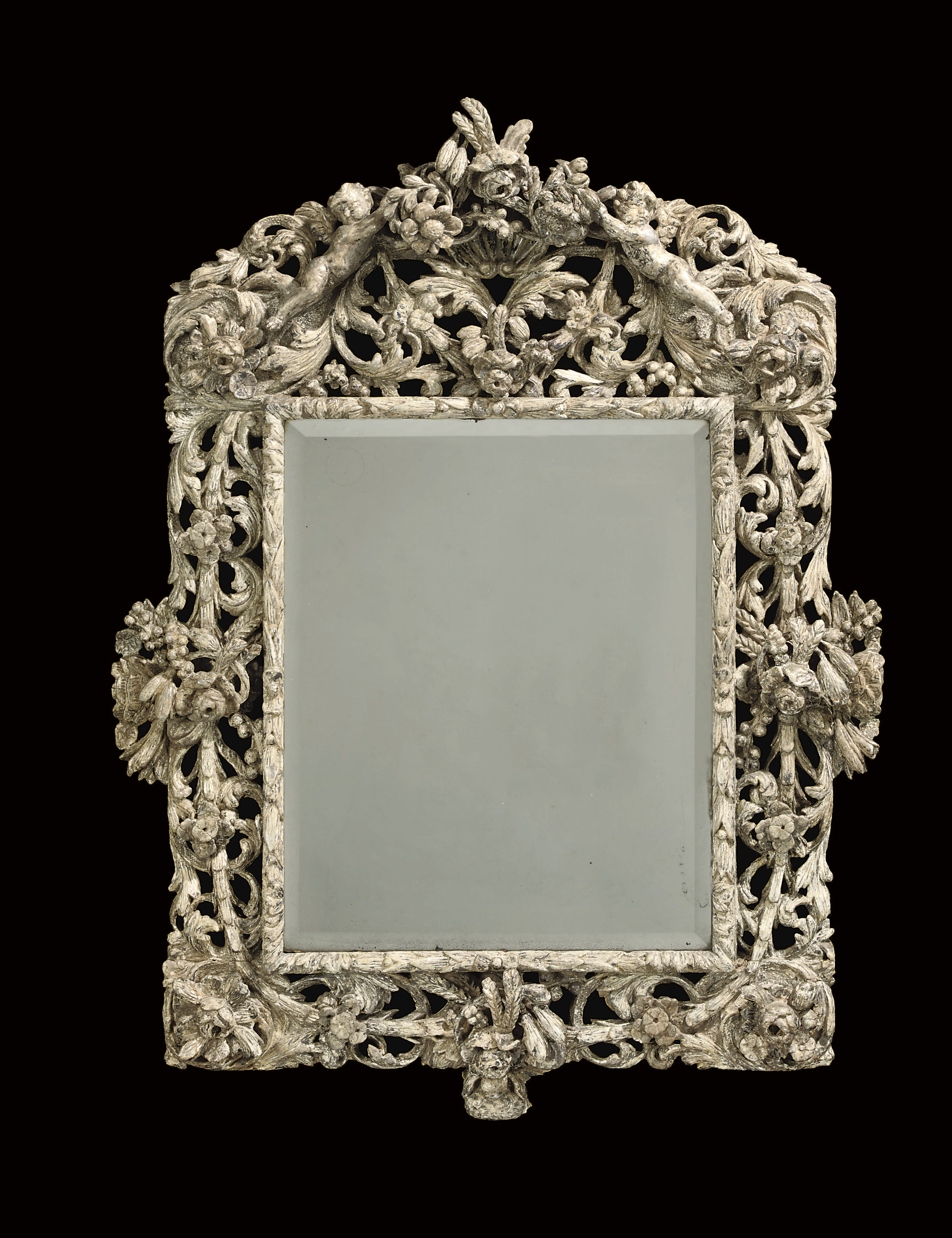 A CHARLES II SILVERED MIRROR