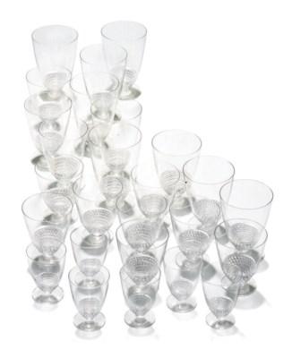 A LALIQUE GLASS PART TABLE-SER