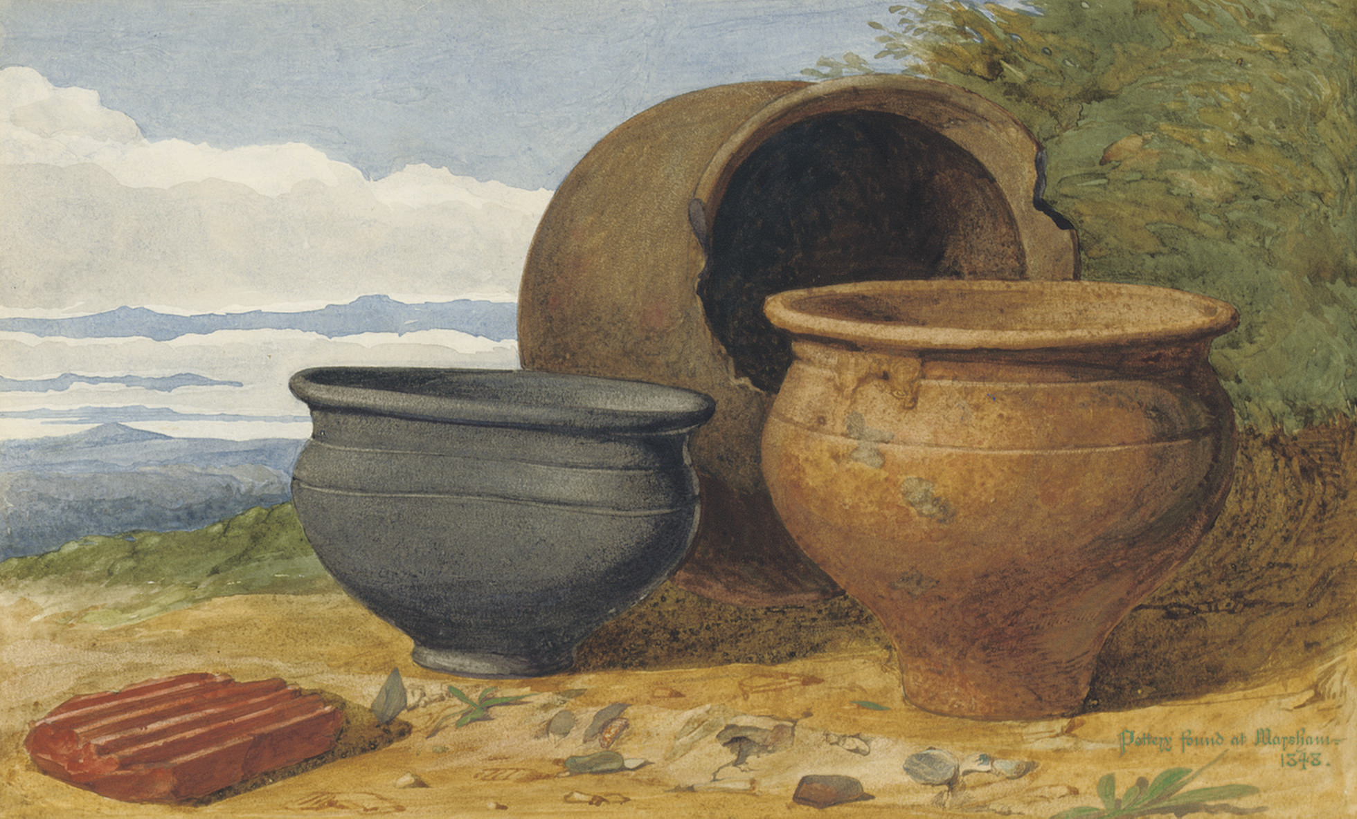 Pottery found at Marsham, Norfolk, 1848