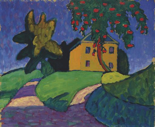 Gelbes Haus mit Apfelbaum (recto); Landschaft (verso)