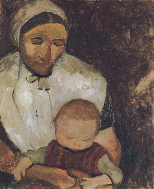 Sitzende Bäuerin mit Kind auf dem Schoss