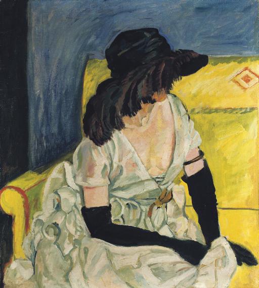 Dame mit Hut und schwarzen Handschuhen
