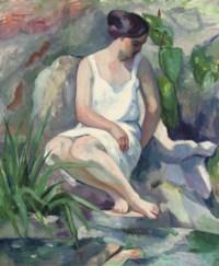 Baigneuse assise à Cassis (Jeanne)