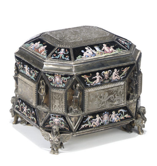 A VIENNESE SILVER, ENAMEL AND ROCK-CRYSTAL CASKET