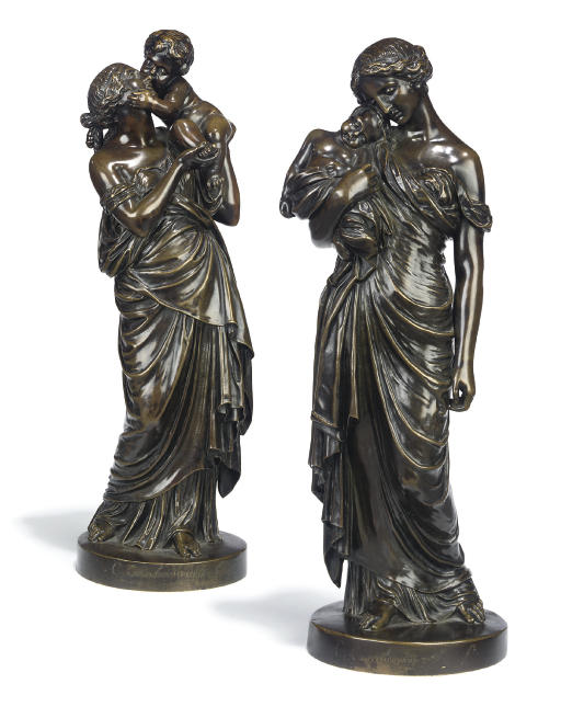 A PAIR OF FRENCH BRONZE GROUPS OF A MOTHER AND INFANT