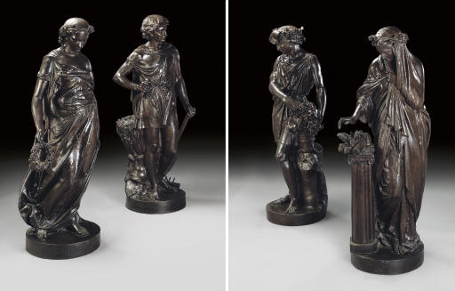 A SET OF FOUR FRENCH LIFE-SIZE PAINTED CAST-IRON FIGURES EMBLEMATIC OF THE SEASONS