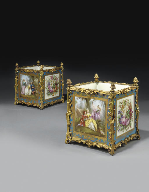A PAIR OF FRENCH ORMOLU-MOUNTED SEVRES STYLE TURQUOISE-GROUND PORCELAIN JARDINIERES