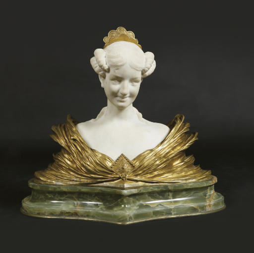 A FRENCH GILT-BRONZE AND MARBL