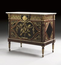 A FRENCH ORMOLU-MOUNTED EBONY AND ACAJOU MOUCHETE DEMI COMMODE