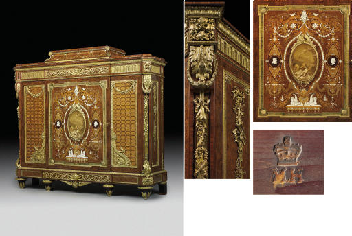 AN IMPORTANT ENGLISH ORMOLU AND PORCELAIN-MOUNTED KINGWOOD, BURR AMBOYNA, HAREWOOD, FRUITWOOD, IVORY AND MOTHER-OF-PEARL MARQUETRY AND PARQUETRY CABINET